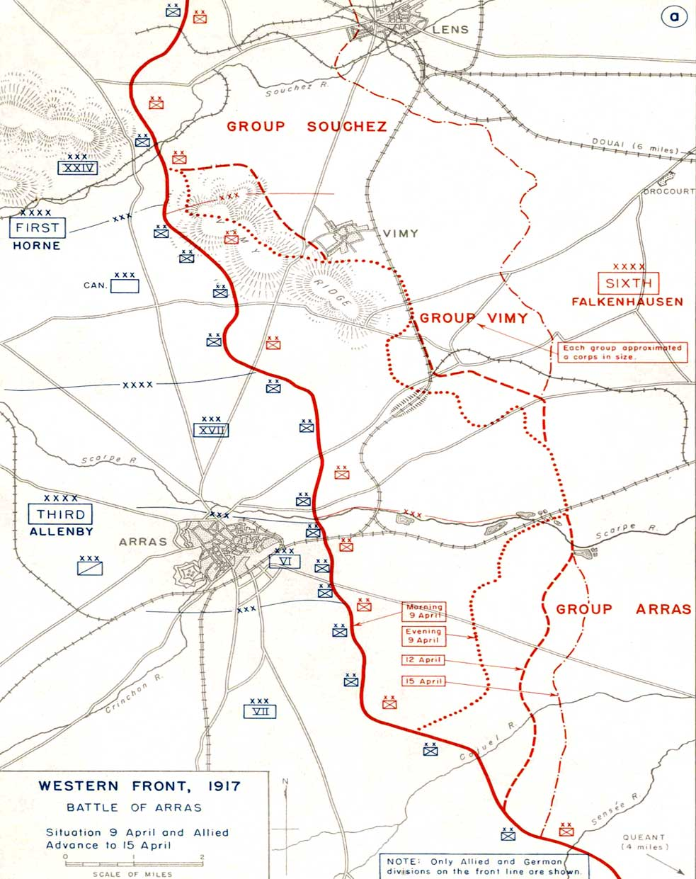 Front lines at Arras prior to the assault