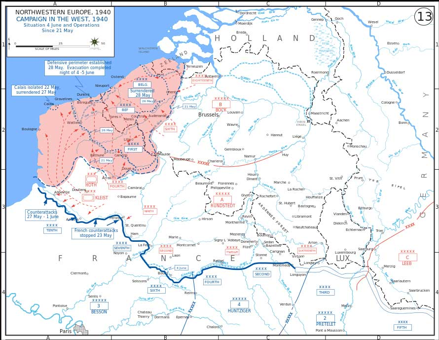 Map of the battle of Dunkirk