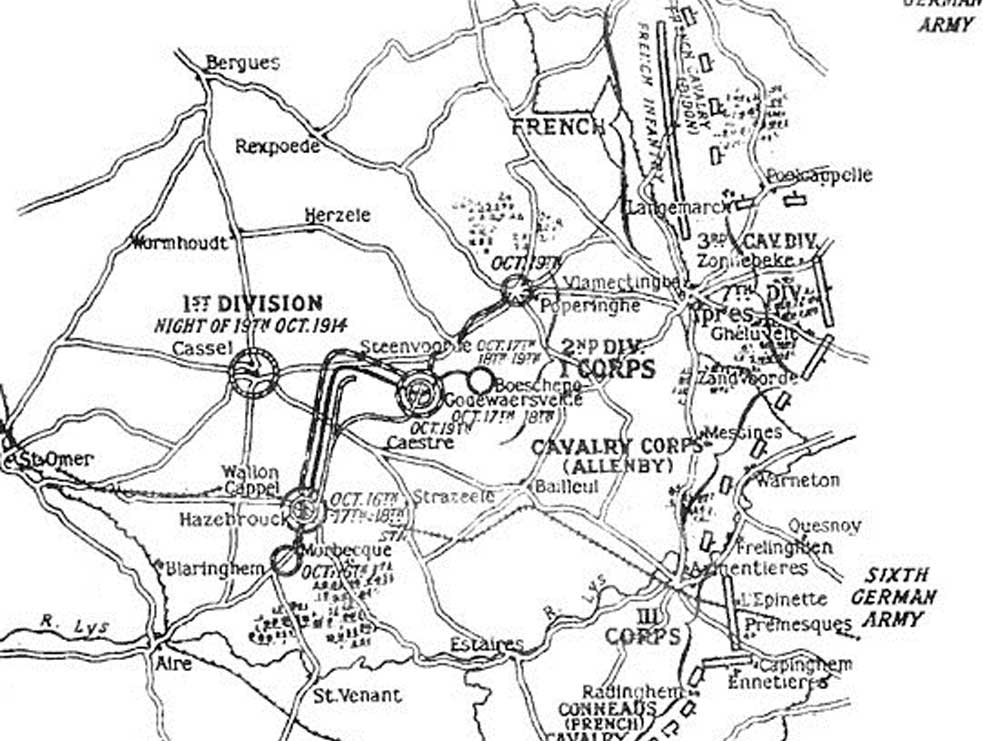 The positions of the Allied and German armies - 19 October 1914