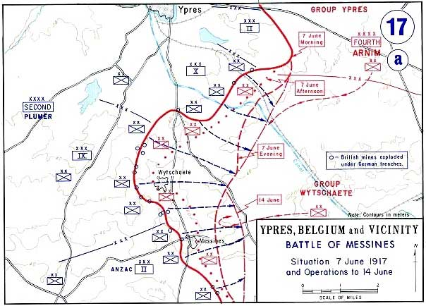 Map of the battle of Messines