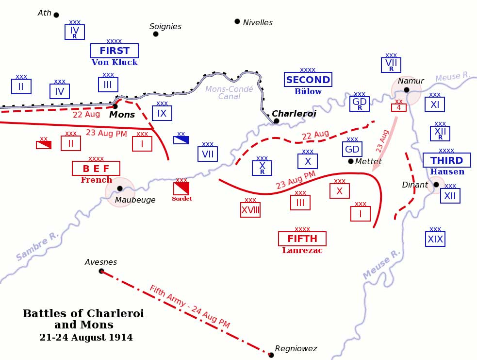 Map of the positions of Allied and German forces