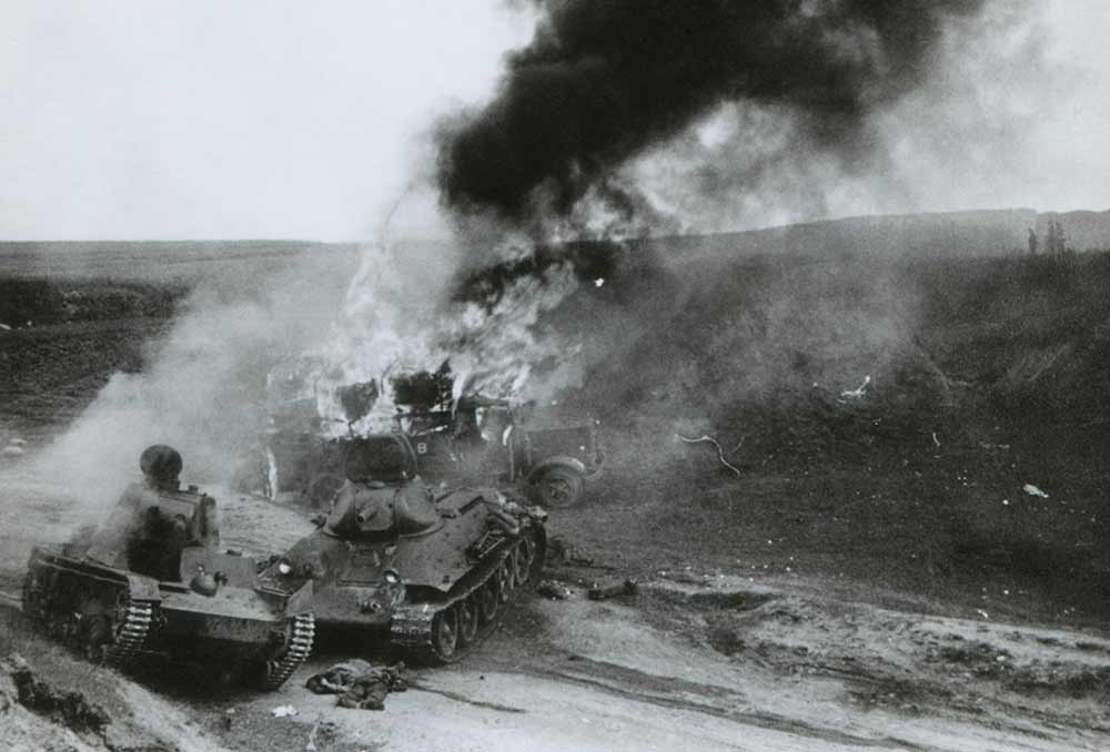 Destroyed Soviet tanks, during the German invasion of Russia