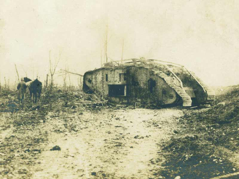Knocked out tank at Cambrai