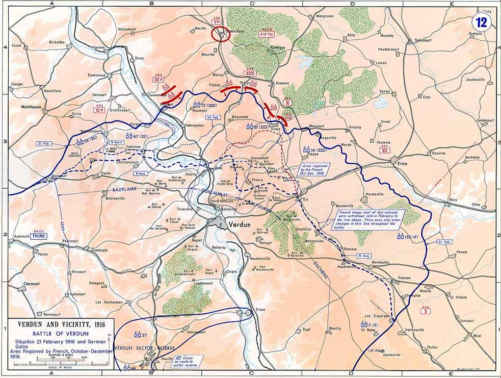 Map of the Verdun battlefield