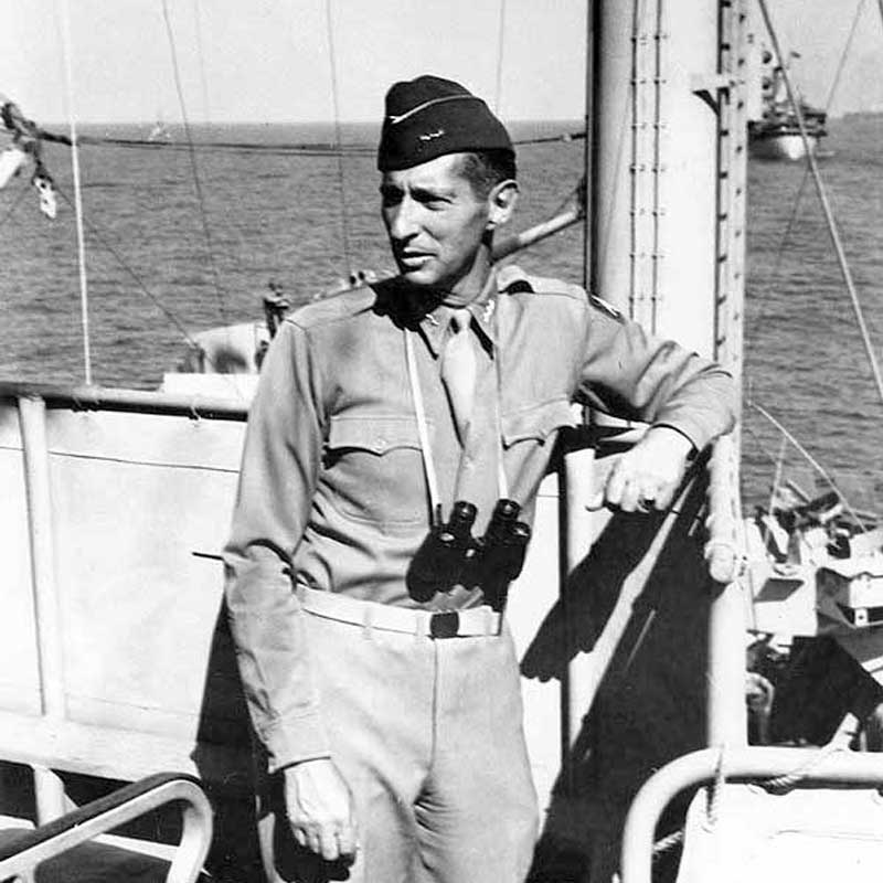 Lieutenant General Mark Clark onboard the USS Ancon