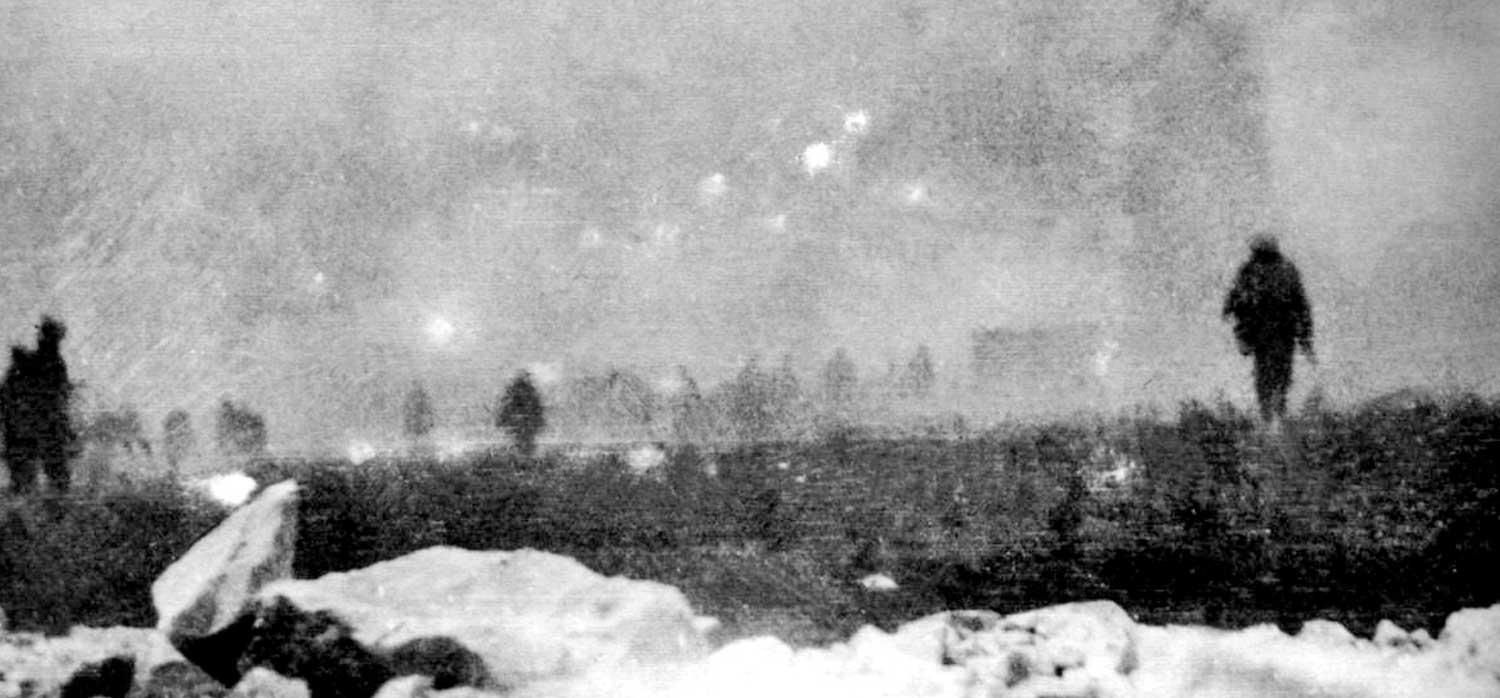 Infantry of the British Empire advance through gas at Loos, France