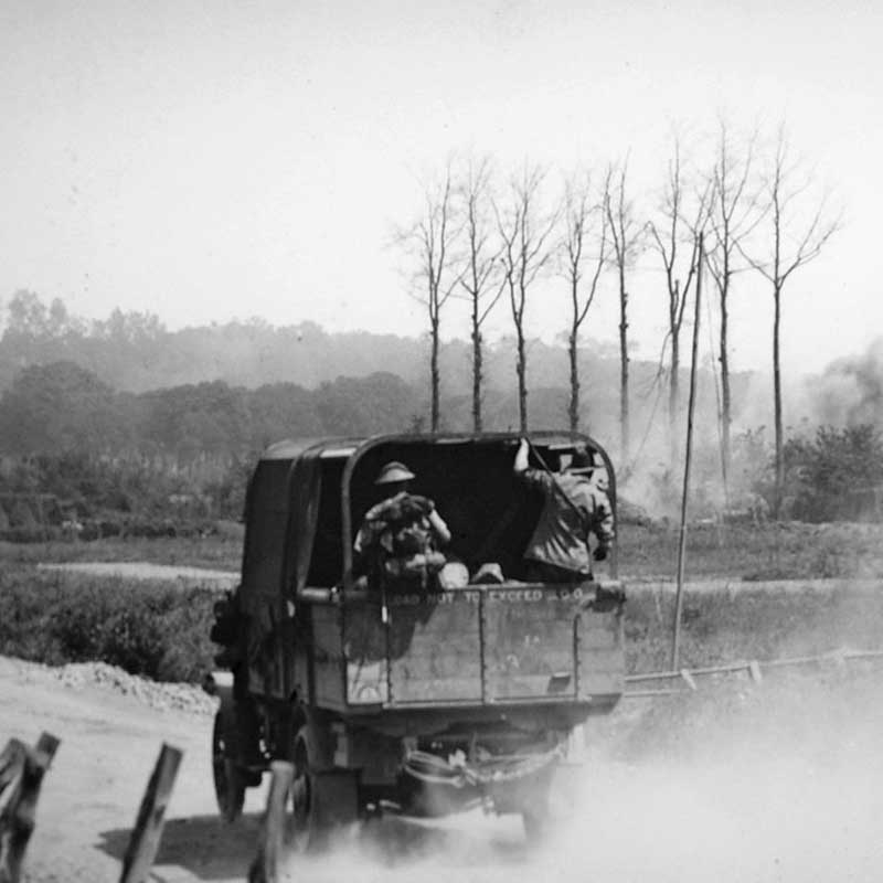 Australian truck near Hill 63 during a bombardment